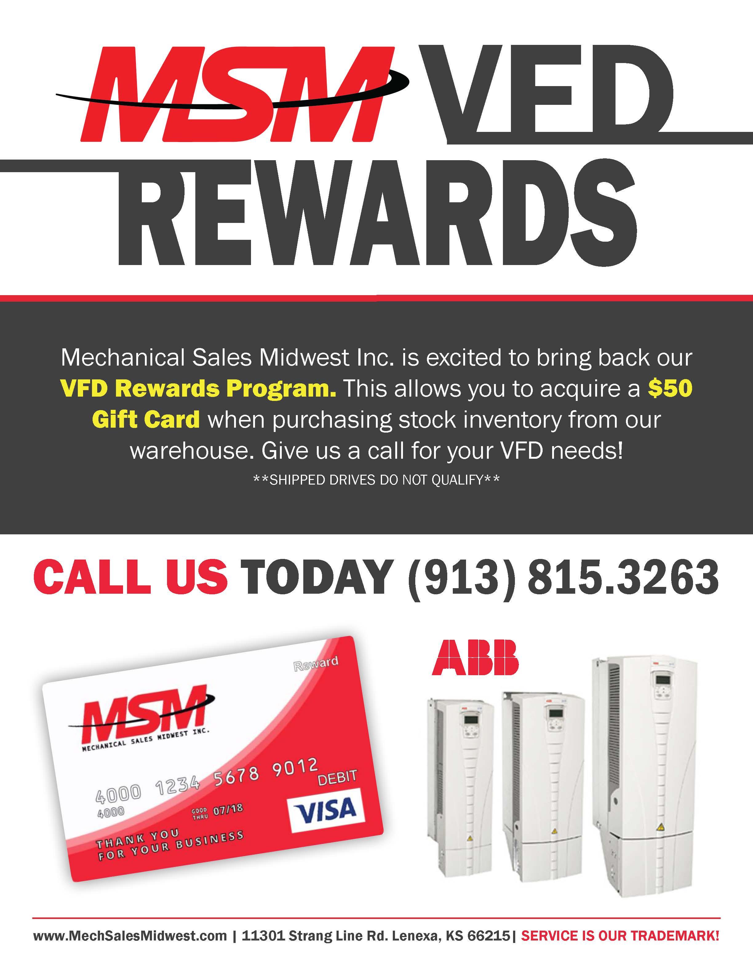 Need a VFD FAST?   Take Advantage of our VFD Rewards Program